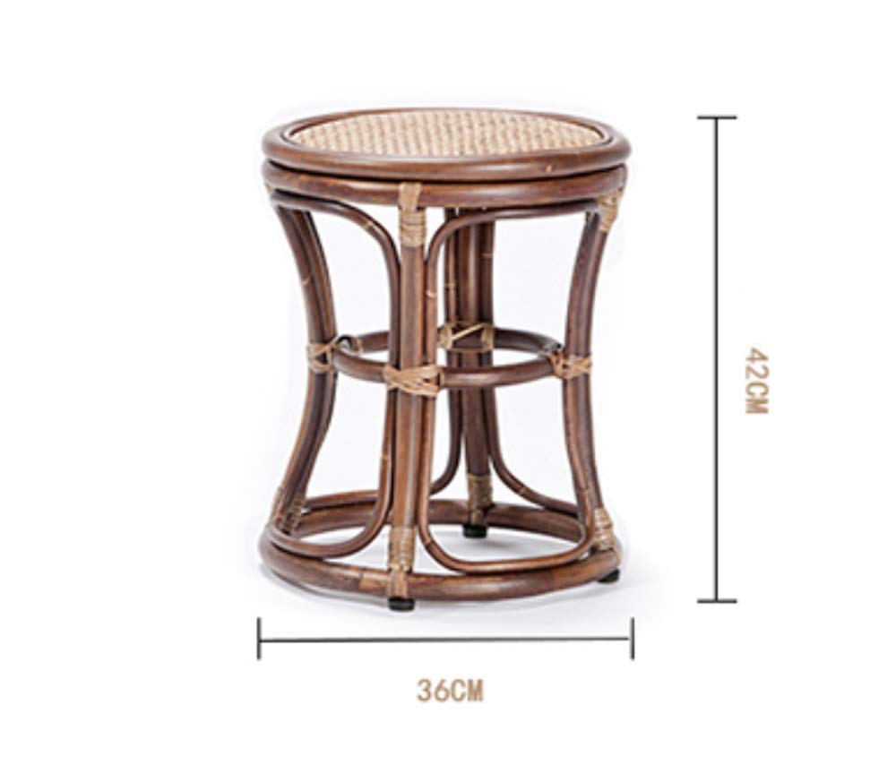 AO-stools Rattan Short Drum Stool Home Small Stool Dressing Stool Ottoman Laundry Stool 42x36cm by AO (Image #7)