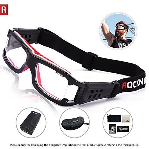 ROCKNIGHT Sports Goggles Safety Glasses Adjustable Eyewear for Basketball Football Volleyball for Men Women Black (Eyewear Women Sport)