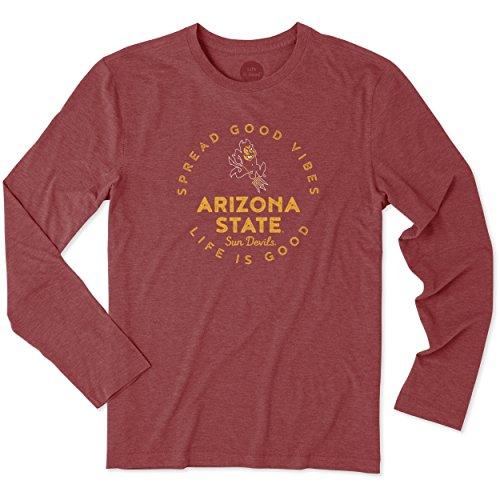 Arizona Circles - Life is Good NCAA Arizona State Sun Devils Adult Men Men's Longsleeve Cool Tee Good Vibes Circle, X-Large, Sport Maroon
