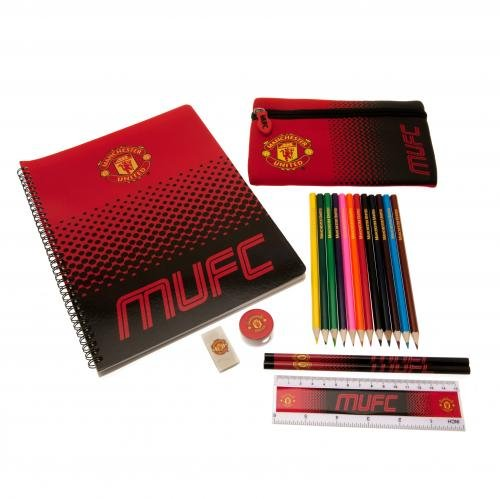 Manchester United Ultimate Stationary Set 19 piece set containing 12 colouring pencils, 2 pencils, A4 notepad, eraser, pencil case, ruler and a pencil sharpener. Officially Licensed & Ships from USA! by Manchester United (Image #1)