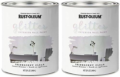 Rust Oleum 323860 Glitter Interior Wall Paint Iridescent Clear 32oz 2pk