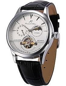 KS Men's KS227 Analog Balance Wheel Black Leather Band Automatic Mechanical Watch