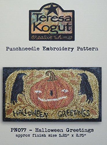 Halloween Greetings Crow Pumpkin PN077 Punchneedle Punch Needle Embroidery Teresa Kogut Pattern ()