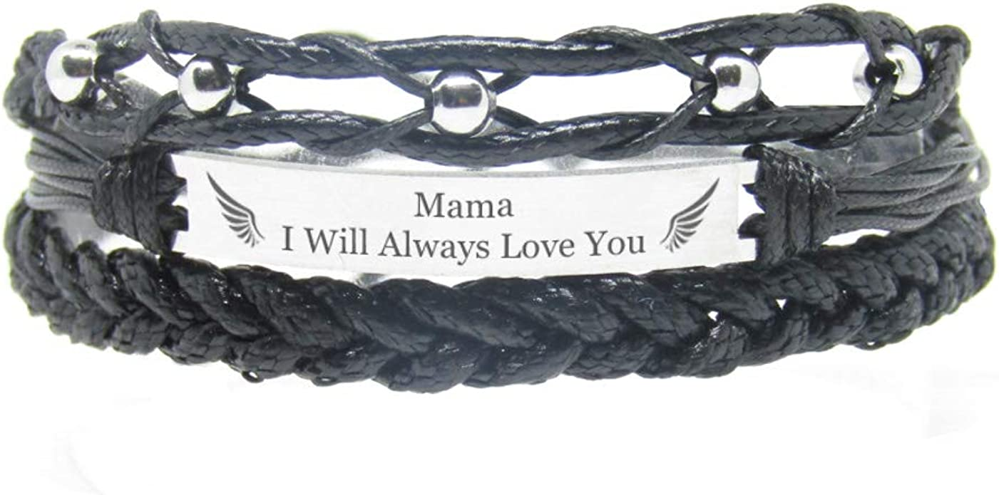 Daughters Aunts Made of Embroidery Thread and Stainless Steel Friends Pink Mothers Once by My Side Forever in My Heart Gift for Women Girls Miiras Memorial Handmade Bracelet
