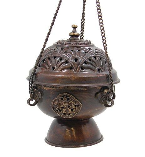 DharmaObjects Tibetan Hanging Incense Burner Copper (Medium)