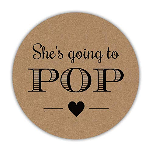 40 She's going to pop stickers, 2 inches - Ready to pop labels - About to pop lables - Baby shower popcorn favors - AM006