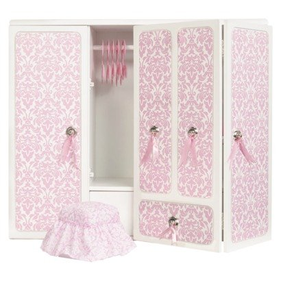 Amazon Com Our Generation Wooden Wardrobe With Ribbons For 18 Inch