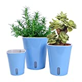 Vencer Self Watering Planter (3 Pack) Modern Decorative Planter Pot for All House Plants Flowers, Herbs,African Violets,Succulents,Blue,VF-066B