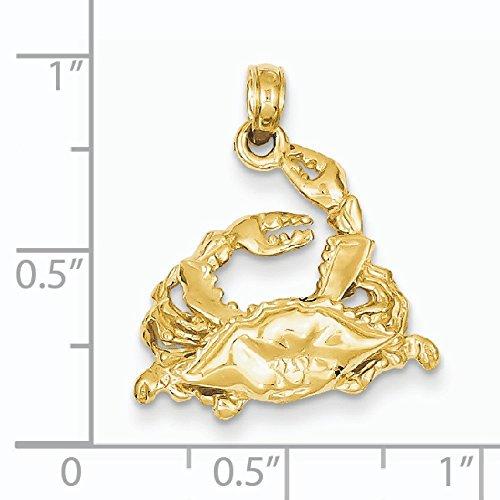Poli 14 carats avec dos ouvert Bleu-Crabe-Dimensions :  24 x 20,1 mm-JewelryWeb
