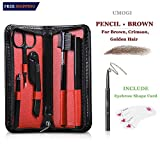 6 in 1 Eyebrow Kit with Razor Pencil Brush Scissors Tweezers Stencil, Eyebrow Grooming Trimmer Set - Beauty Makeup Tool Gift for Men and Women with Portable Travel Case (Brown Pencil) UMOGI