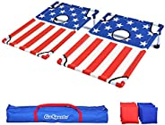 GoSports Portable PVC Framed Cornhole Toss Game Set with 8 Bean Bags and Travel Carrying Case - Choose America