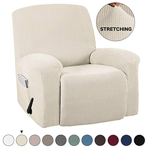 Turquoize Recliner Cover with Pockets 1-Pieces Chair Recliner Slipcover Furniture Cover Spandex Stretch Slipcover for Recliner Chair Sofa Covers Anti-Slip Slipcover Highly Fitness (Recliner, Natural)