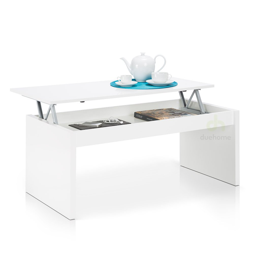 Florence Lift Up Storage White Gloss Coffee Table: Lift Top Coffee Table , Finish White Gloss , Dimensions