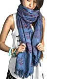 Large Om Scarf Wrap Yoga 100% Soft Cotton Hand Printed Mantra Prayer Boho Bohemian Yoga Yellow White Black & Blue (Blue)