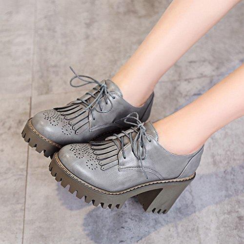 Show Glans Womens Mode Plattform Hög Klack Snörning Oxfords Skor Grå