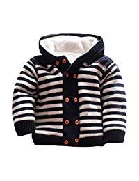 Mud Kingdom Baby Sweaters Fleece Rabbit Hooded Button-Down Knit Cardigan