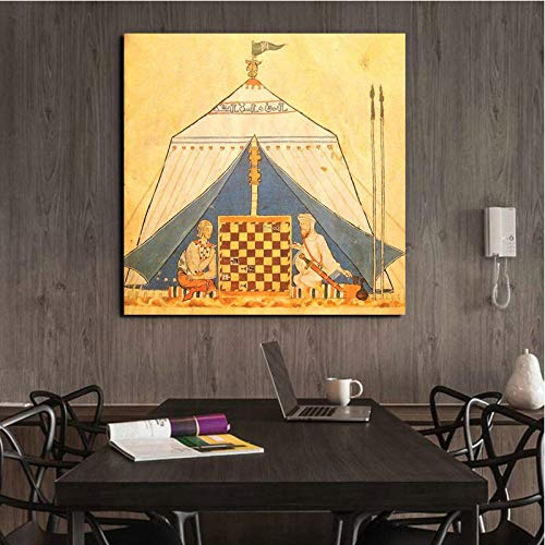 DLFALG Islamic Chess Book of The Games Canvas Painting Poster Prints Marble Wall Art Painting Decorative Picture Modern…