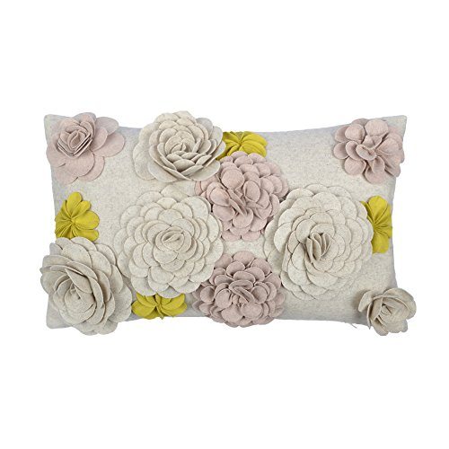 (KingRose 3D Handmade Flowers Decorative Accent Throw Pillowcase Wool Cushion Covers for Sofa Couch Chair 12 x 20 Inches Yellow)