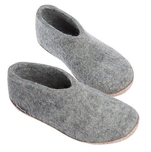 GLERUPS -- Unisex Indoor Casual Wool Felt Shoe, Grey EURO Size 44