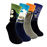 HSELL 4 Packs Women Funny Famous Painting Art Printed High Dress Socks Cotton,Multicolors,One Size