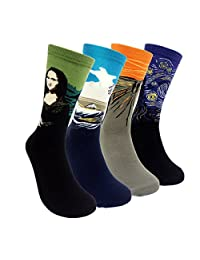 Famous Painting Art Printed Dress Socks - HSELL 4 Packs Womens Funky Socks