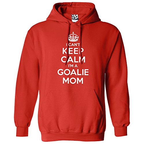 Shirt Boss Unisex The Goalie's Mom Hoodie - I Can't Keep Calm I'm a Medium Red/White