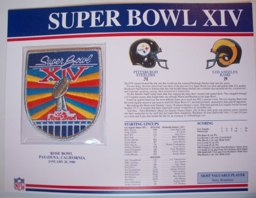 1979 Pittsburgh Steelers vs LA Rams NFL Super Bowl 14 (XIV) 1980 Terry Bradshaw MVP Willabee Ward Patch and Stat Panel Card (Steelers Super Bowl Patches compare prices)