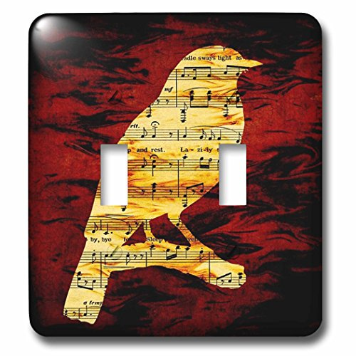 3dRose lsp_204182_2 Print Of Sheet Music Bird On Scarlet - Double Toggle Switch