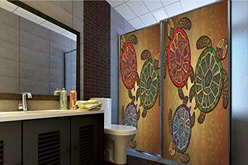 Horrisophie dodo 3D Privacy Window Film No Glue,Turtle,Three Ocean Turtles Ethic Style Animals Geometric Vibrant Ocean Theme Artwork Print,Multicolor,70.86