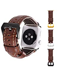 Apple Watch Band, Bandmax Brown Genuine Leather Watch Strap Replacement for Apple Watch 42MM All Versions with Black Gun Plated Metal Clasp Buckle