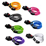 GoFriend Bike Lock High Security 5 Digit Resettable Combination Coiling Cable Lock Best for Bicycle Outdoors, 1.2mx12mm