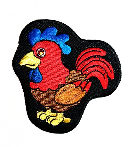 (HHO Red chicken Big eyes Cartoon Patch Embroidered DIY Patches, Cute Applique Sew Iron on Kids Craft Patch for Bags Jackets Jeans Clothes)