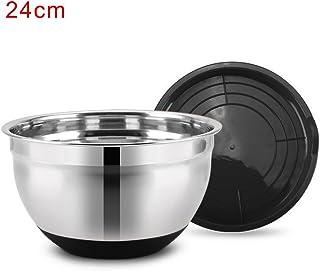 Saladier avec couvercle hermétique, base en silicone antidérapante, bol mélangeur en acier inoxydable, parfait pour mariner les outils de cuisine. 24cm Black 24cm