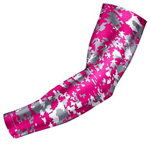 Moisture Wicking Sports Compression Arm Sleeve - Youth & Adult Sizes - Baseball Softball Football Basketball (Pink Gray White Digital (Pink Gray Camouflage)