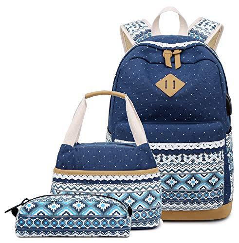(Abshoo Polka Dot Canvas Backpacks For Girls School Bookbags Teen Backpacks With Lunch Bag (9G5 Navy))