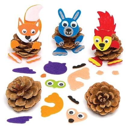 Amazon Com Baker Ross Woodland Animal Pine Cone Decoration