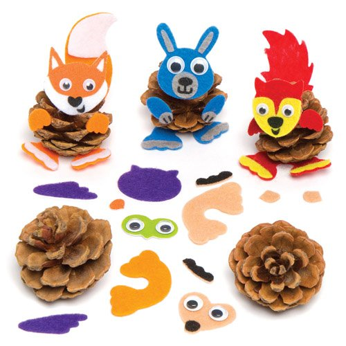 Baker Ross Woodland Animal Pine Cone Decoration Kits Creative Set for Children to Make Decorate and Display as Fall Crafts (Pack of 6) -