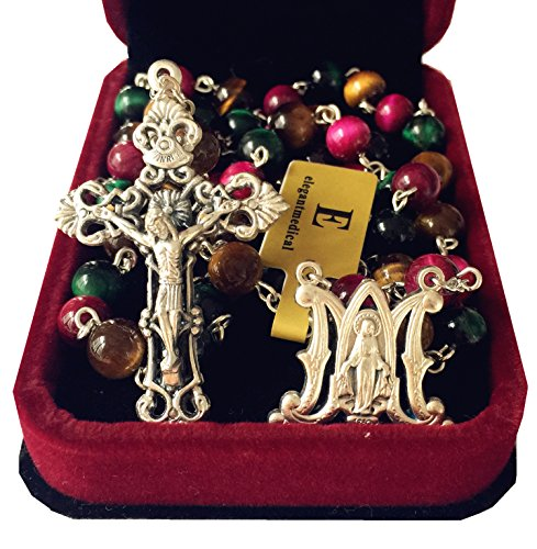 elegantmedical Handmade Tiger Eye 5 Decade Rosary Beads Jesus Cross Catholic Necklace & Gift Box