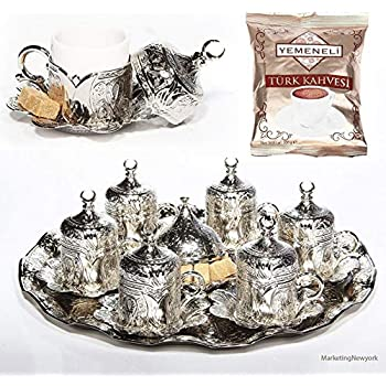 27 Pc Ottoman Turkish Greek Arabic Coffee Espresso Serving Cup Saucer Gift Set(silver)