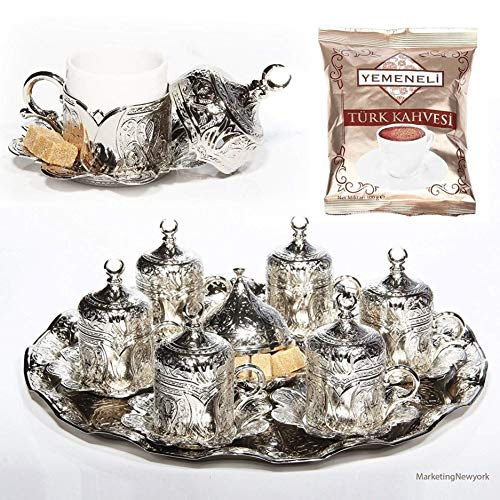 27 Pc Ottoman Turkish Greek Arabic Coffee Espresso Serving Cup Saucer Gift Set(silver) by Sena (Image #1)