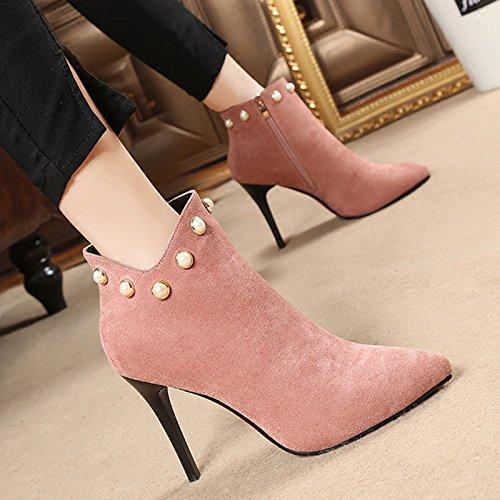 De Perlas Tacones Zapatos KPHY Alto De Botones Botas Aguja Tacon De Mujer De Pink Martin Botas UxpTa