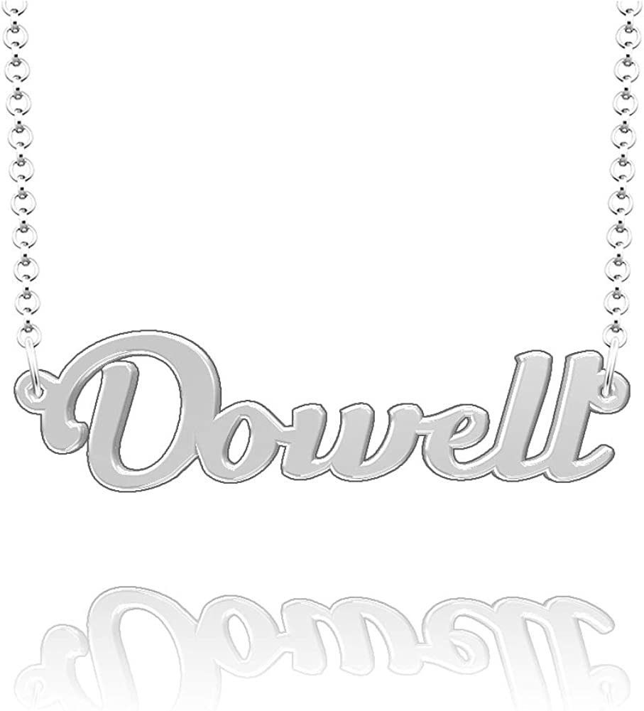 LoEnMe Jewelry Customized Dowell Name Necklace Stainless Steel Plated Custom Made of Last Name Gift for Family
