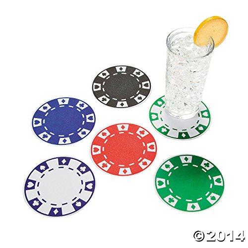 12 Casino Party Bar Drink Beverage Paper Poker Chip (Poker Supplies Las Vegas)