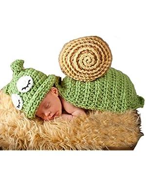 Newborn Photography Props Snail Shape Handmade Crochet Knit Hats+Clothing