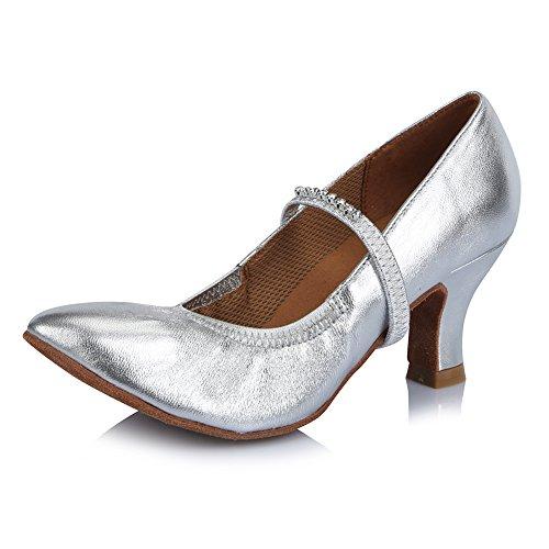 Zapatos Danza Latinos HIPPOSEUS de Cuero ESAF305 de Mujeres de Plateado con Baile de la salón Diamante el de Modelo Zapatos de imitación Zapatos Baile OaxartwZ