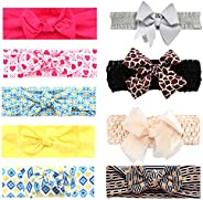 Baby Girl Headbands Baby Bows, 9pcs Turban Knotted Cotton Newborn Hair Ribbon
