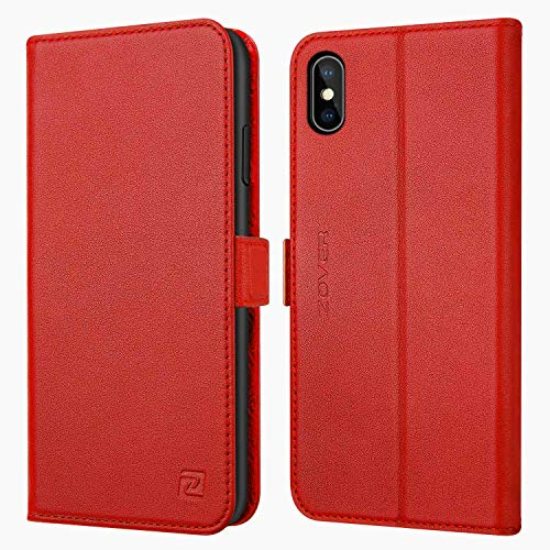 Zover iPhone Xs Case, iPhone X Wallet Case with Genuine Leather Case Kickstand Feature Card Slots and Magnetic Closure for Apple Phone XS/X Gift Box Red ()