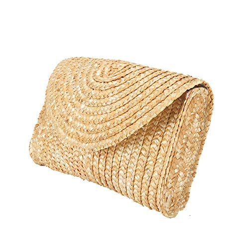 Clutch Purse Handbag Bag - Straw Clutch Handbag, Alilove Women Straw Purse Envelope Bag Wallet Summer Beach Bag (envelop B style)