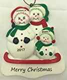 Personalized Snowman Family of 3 Christmas Engraved Ornament-Free Personalization