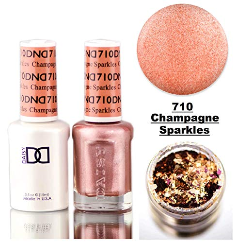 Daisy DND GLIMMER SPARKLES Soak Off GEL POLISH DUO, All In One Gel Lacquer + Matching Nail Polish Color for Nails (with bonus side Glitter) Made in USA (Champagne Sparkles (710))